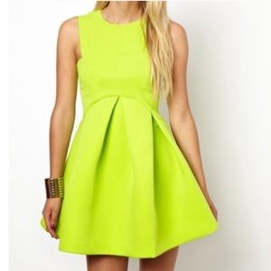 ASOS fit and flare neon green dress